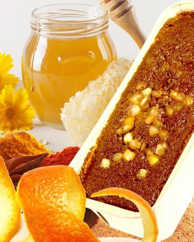 Pain d'épice au miel et fruit confis