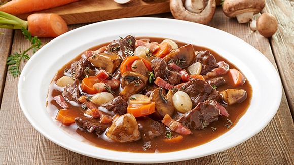 Un plat de bœuf bourguignon